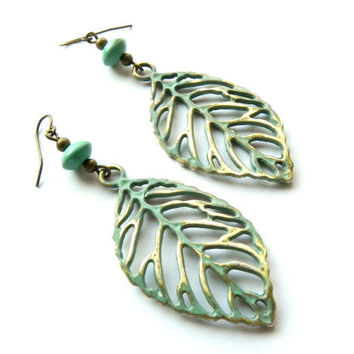 Long Turquoise Boho Leaf Earrings // Dangly Bohemian Earrings // Woodland Jewelry