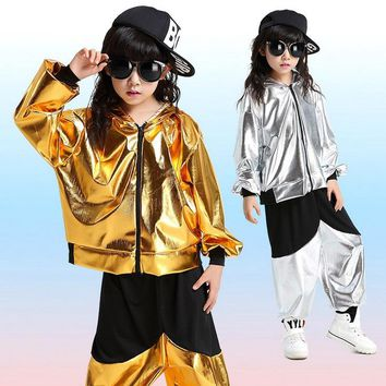 Golden Silver Jazz Ballroom Dance Competition Costume Girls Boys Hip Hop Costume For Kids Hoodie Jacket Dancing Clothing Wear
