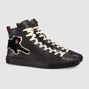 GUCCI Embroidered high-top Leather Sneaker One-nice™