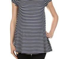 Nautical Navy Stripe Maternity Top