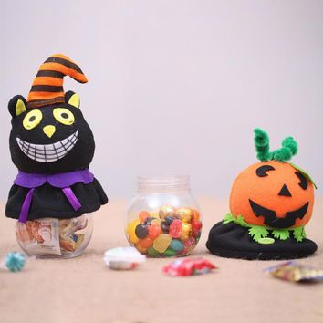 Cartoon Children Transparent Halloween Party Pumpkin Bottle Box Candy Jar Halloween Gift For Kids Household Can Bin Decor Box