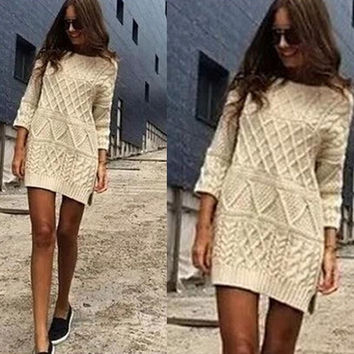 New Arrival!Women Sweater Mini Dress Warm Pullover 3/4 Sleeve Knitwear Dress (Color: Beige) = 1946209156