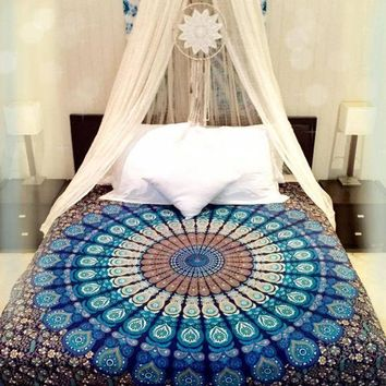 DCCKJG2 Peacock Tapestry Green Beautiful Tapestry Hippie Wall Hanging Bedspread Printing Home Bedding