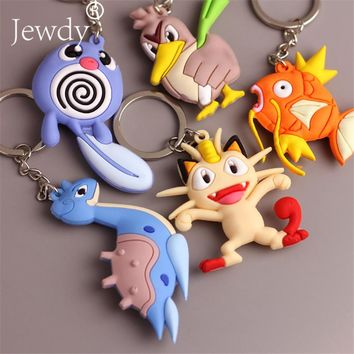 Anime Pvc Keychain Pocket Monsters Pikachu Charmander Squirtle Bulbasaur 3D Mini Figure Key Ring Dropship Eevee Gift