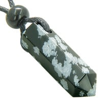 Lucky Crystal Point Pendant Necklace in Snowflake Obsidian Gemstone
