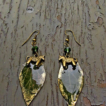 Real  Ivy Leaf Studs  Green tree Earrings  Green Gold Studs  Christmas tree horse  Green Gold Crystals  Christmas gift  for nature lover