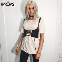 Aproms Black White Lace Up Corset Cool Girls Streetwear Tank Shoulder Bodycon Bandage Belt Back Zipper Women's Belt Accessories