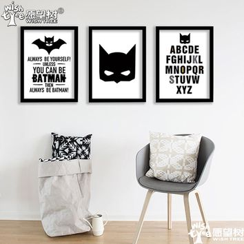 Nordic Decoration Batman Posters And Prints Wall Art Canvas Painting Art Print Wall Pictures Kids Room Cuadros No Poster Frame