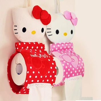 Hot sales Kawaii Hello KITTY Home & Bathroom Tissue Case Box Container Towel Napkin Papers BAG Holder BOX Case Pouch Tissue box