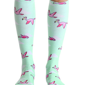 Flamingos Right Knee High Socks