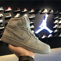 Air Jordan 1 Retro AJ1 Grey Suede Men Sneaker