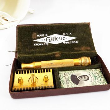 Gillette Gold Plate Ball End Razor with Case, Long Comb, Vintage Shaving