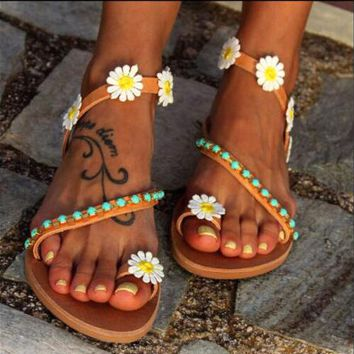 Summer Fashion Women Weaving Cute Flower Flat Beach Sandals Slippers Shoes