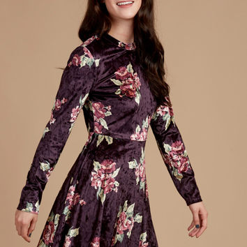 Altar'd State Plum Velour Dress - Apparel