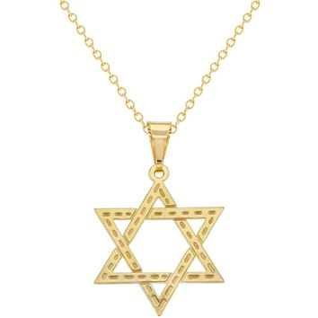 18k Gold Plated Jewish Religious Star of David Flat Medal Necklace Pendant 19""