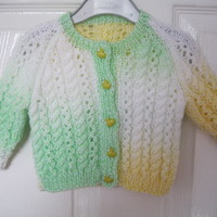 Green DUCK Hand Knitted Cardigan for 0 - 6 months - kids baby girls new born