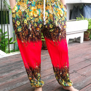 Floral Red Black Yoga Pants Wide Beggy Harem Boho Style Printed Unisex Casual Aladdin Fisherman Hippie Massage Rayon pants Gypsy Thai Women