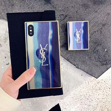 Hot Sale YSL Popular Iphone X 8 8 Plus/7 7 Plus/ 6 6s Plus iPhone Mobile Phone Shell Blue I-OF-SJK