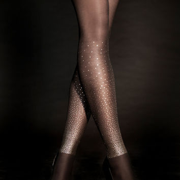 EXCLUSSIVE Hand Printed Tights - Starry Night, Gold on Sheer Black, Flash Back collection