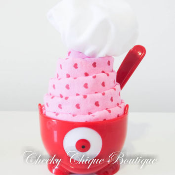 NEW Baby Shower Gift, Sundae Gift Set, Ice Cream Dish & Spoon, Onesuit, Centerpiece, Baby Boy Gift, Blanket, Novelty Gift