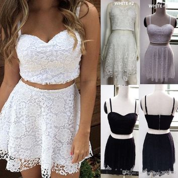 Cute Women White Black Lace Dress Two Piece Summer Outfit Crop Top A-line Mini Dress Elegant Evening Party Prom Dresses