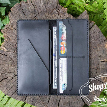 Wallet With Pocket, Organiser Wallet, Documents Wallet,  Black Wallet, Men&Women, Leather Card Holder, Business wallet, Leather Clutch