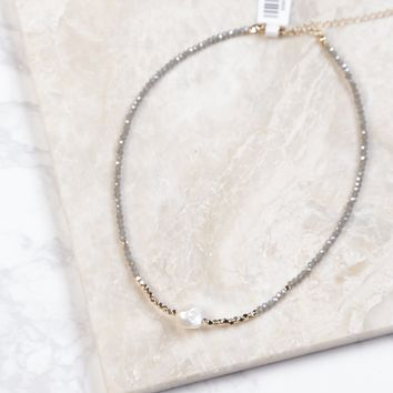 Grey/Gold With White Stone Beaded Choker, Grey