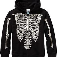 Boys Zip-Front Skeleton Hoodies