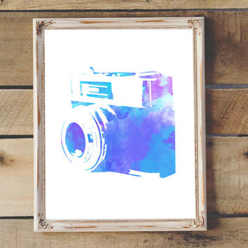 Vintage Camera Print Watercolor Painting Camera  Printable  Wall Art Nursery Decor Teen Room Artist's Studio  Print
