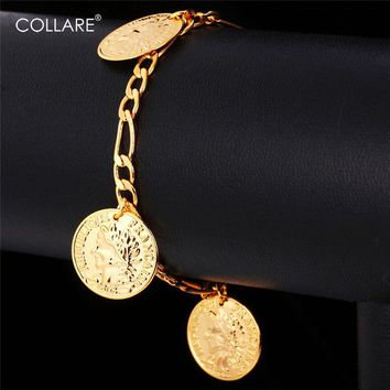 Collare France Coin Charm Bracelets Fashion Gold Color Vintage Figaro Chain Bracelets Bangles For Women/ Men Jewelry H549
