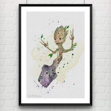 Groot Poster, Guardians of the Galaxy Watercolor Art Print, Kids Room Wall Art, Home Decor, Gift, Not Framed, Buy 2 Get 1 Free! [No. 95-1]