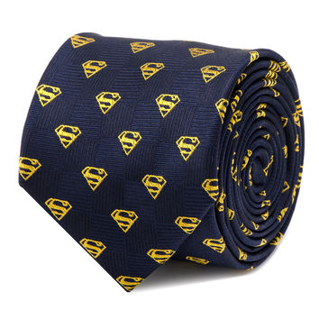 Superman Shield Navy Blue Mens Tie