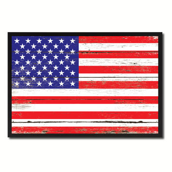 Vintage American Flag United States of America Canvas Print with Picture Frame Home Decor Wall Art Collection Gift Ideas