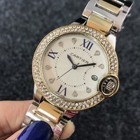 Cartier women men exquisite fashion watch diamond Rose gold I-Fushida-8899