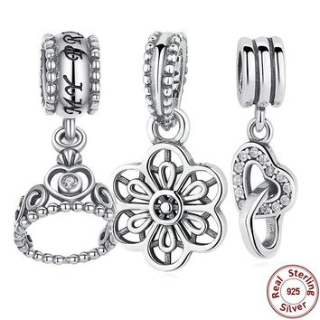 9 Style 925 Sterling Silver My Princess Clear CZ Pendant Dangling Tiara Charm Charms F