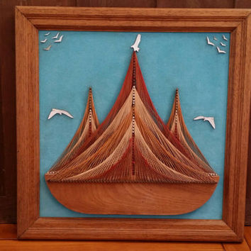 Vintage Mid Century String Art of Boat Seagulls Blue Velvet Backed Wood Frame Great Retro Nautical Decor