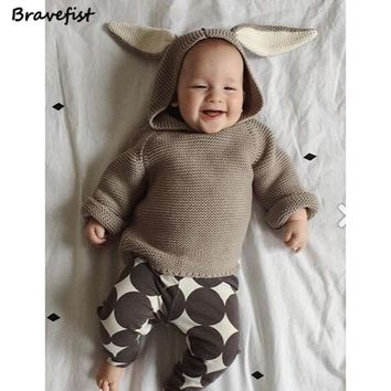 Autumn Boys Sweater 3D Rabbit Bunny Pullover Kids Girls Knitted Sweater Bunny Jumpers Baby Girls Winter Clothes Outwear