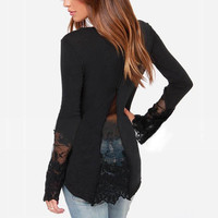 2015 New Fashion Women Trendy Shirts Lace Long Sleeve O-Neck Ladies Leisure All Match Blouse Shirt S-3XL