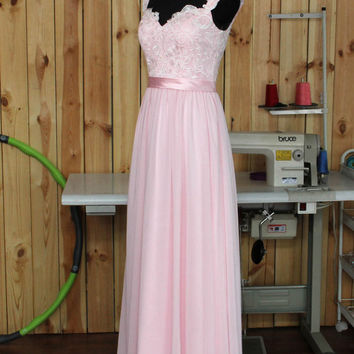 2015 Pale Pink Bridesmaid dress, Lace Chiffon Wedding dress With Straps, Formal dress, Prom Dress,Woman Evening dress floor length