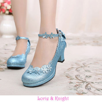 Japanese Princess Girl Floral Ankle Strap Bowtie Back Sweet Lolita Cosplay Chunky High Heel Shoes
