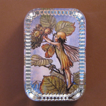 Autumn Hazel Nut Flower Fairy Heirloom Rectangle Glass Paperweight Cicely Mary Barker Home Decor
