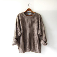 vintage oversized sweater. loose fit oatmeal brown sweater. boyfriend sweater