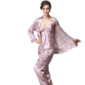 3 PCs Silk Pajamas Sets