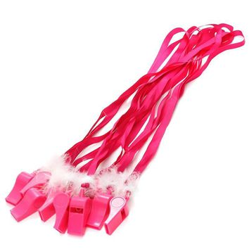 Hot Pink Party Whistles