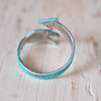 Blue arrow, boho, adjustable ring. tiedupmemories