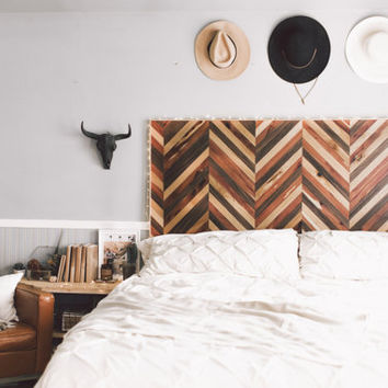 Herringbone Wooden Headboard