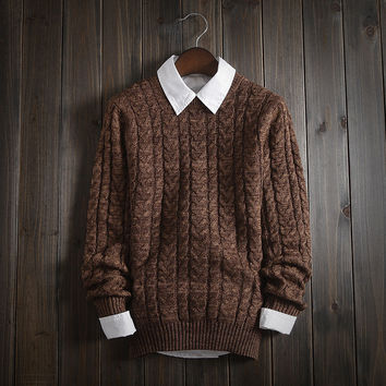 Fashion Men's Comfortable Solid Cable Knitted Sweater