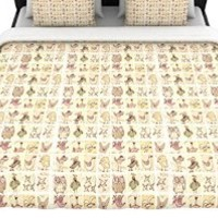 """Kess InHouse 88 by 104-Inch Marianna Tankelevich """"Cute Birds"""" Woven Duvet Cover, King, Tan Grid"""