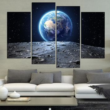 Canvas Prints Poster Living Room Wall Art 4 Pieces Abstract Earth View From Moon Asteroid In Space Paintings Home Decor Pictures