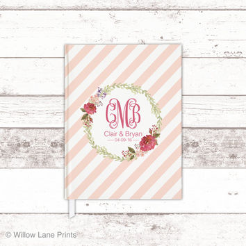 Boho wedding guest book - bohemian wedding guestbook - floral wedding guest book - monogram wedding guestbook - bridal shower gift for bride